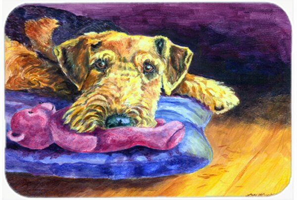 Airedale Terrier Teddy Bear Kitchen/Bath Mat by East Urban Home