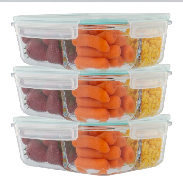 Imkamp 3 Compartment Glass 51 Oz. Food Storage Container (Set of 3) by Rebrilliant