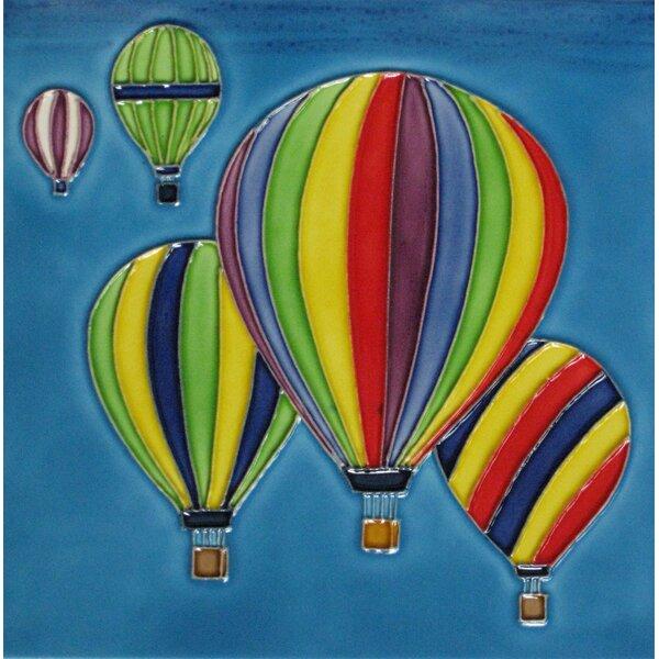 8 x 8 Ceramic Hot Air Balloons Decorative Mural Tile by Continental Art Center
