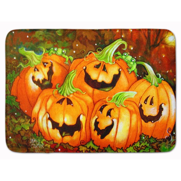 A Glowing Personality Pumpkin Halloween Memory Foam Bath Rug by The Holiday Aisle