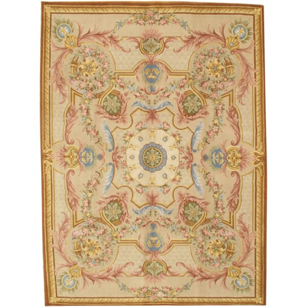 Savonnerie Hand Knotted Wool Ivory Area Rug by Pasargad NY