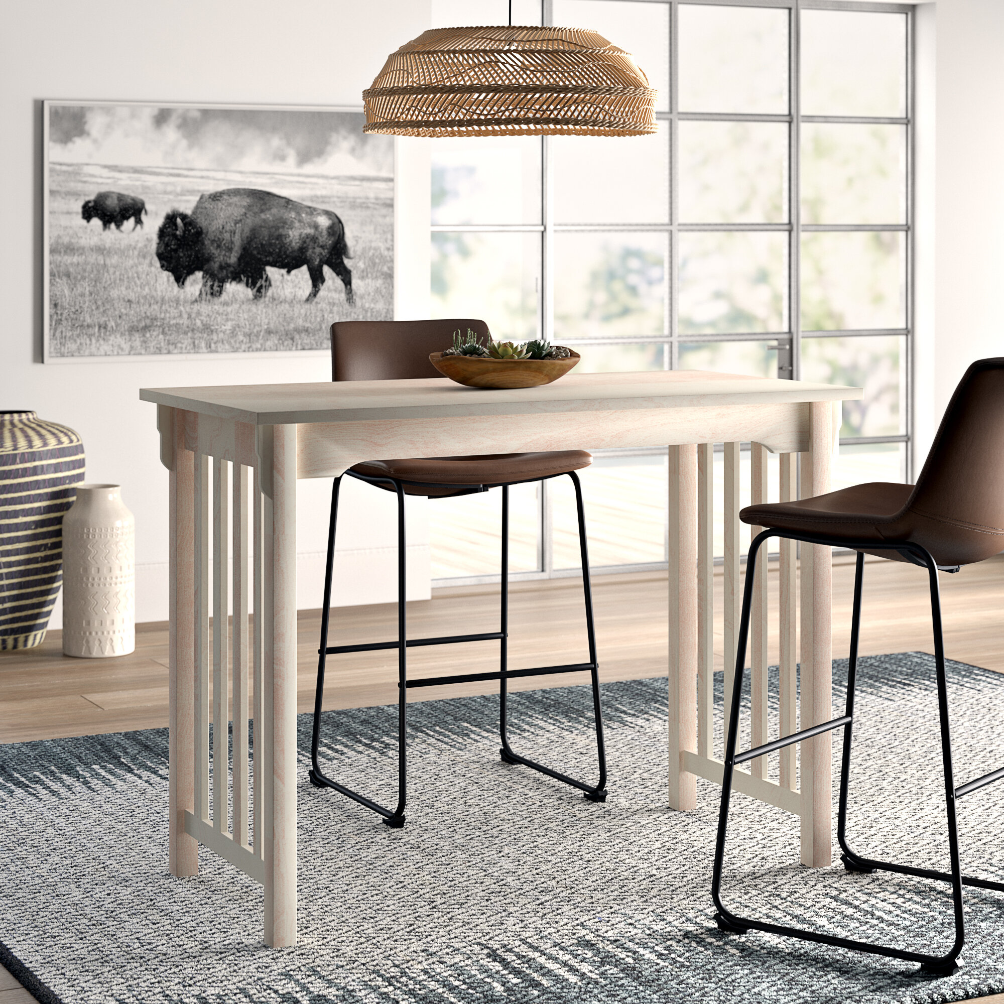 Mistana Araceli Counter Height Solid Wood Dining Table Reviews