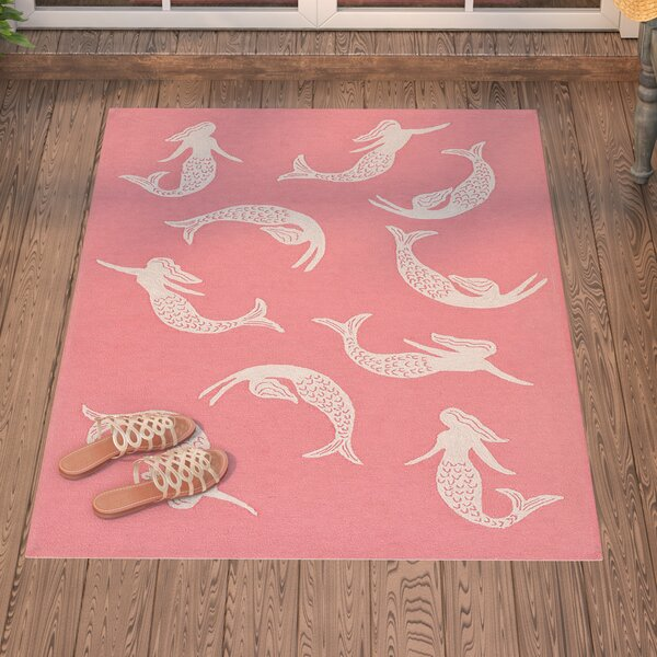 Northfield Mermaids Handmade Water Resistant Coral Indoor/Outdoor Area Rug by Beachcrest Home