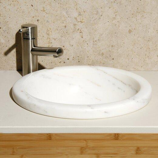 Volakas Stone Circular Drop-In Bathroom Sink by Allstone Group