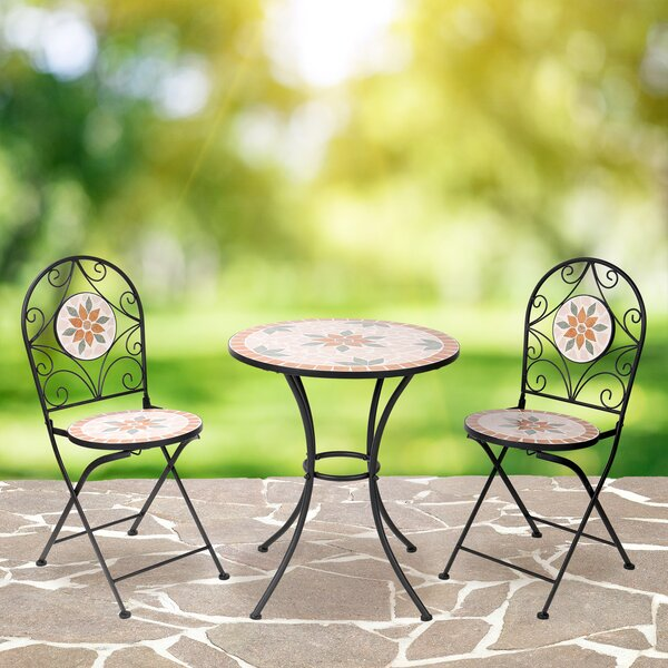 Mosaic Outdoor 3-Piece Bistro Set by Fleur De Lis Living