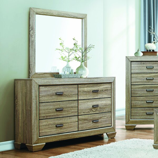 Henry 6 Drawer Double Dresser with Mirror by Loon Peak