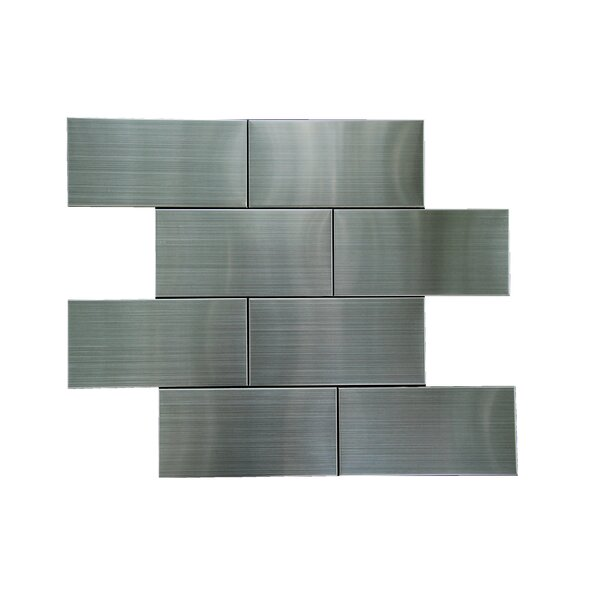 Flat 3 x 6 Metal Subway Tile in Silver by Luxsurface
