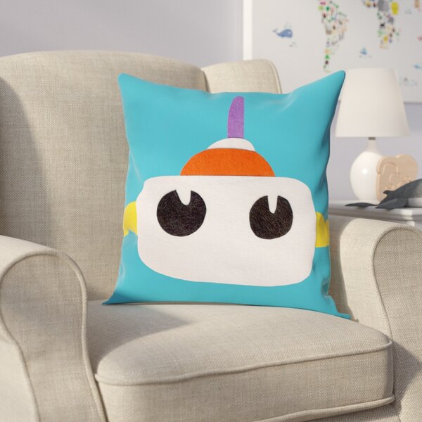 Jazlyn Robot Head I Throw Pillow by Zoomie Kids