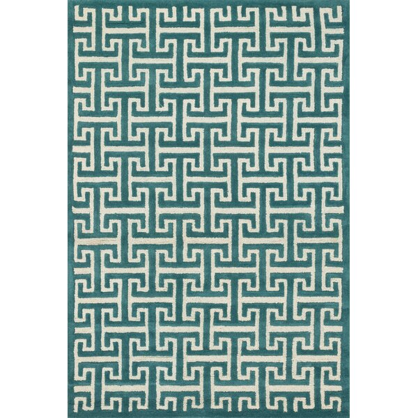 Dandridge Hand-Tufted Teal Area Rug by Wrought Studio