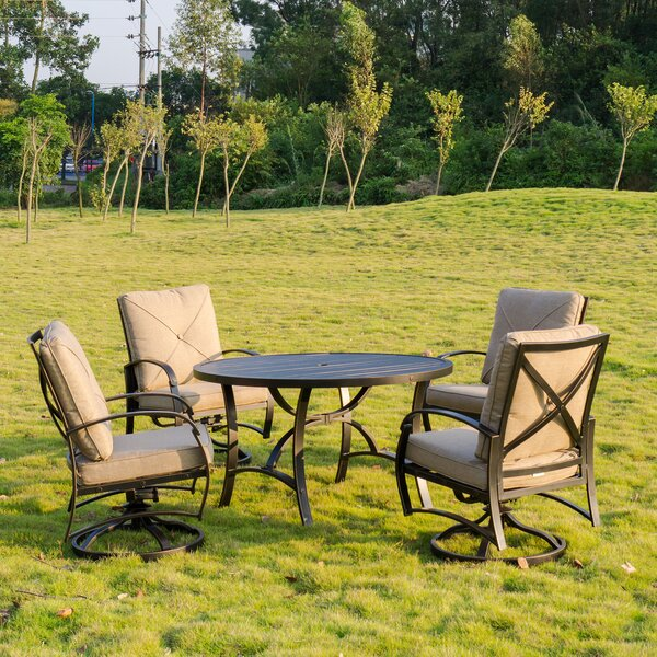 Kemper 5 Piece Dining Set with Cushions by Darby Home Co