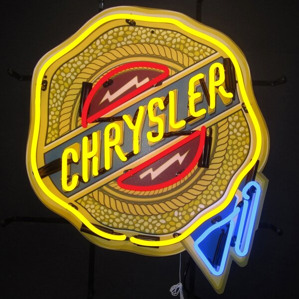 Chrysler Badge Neon Sign with Backing by Neonetics