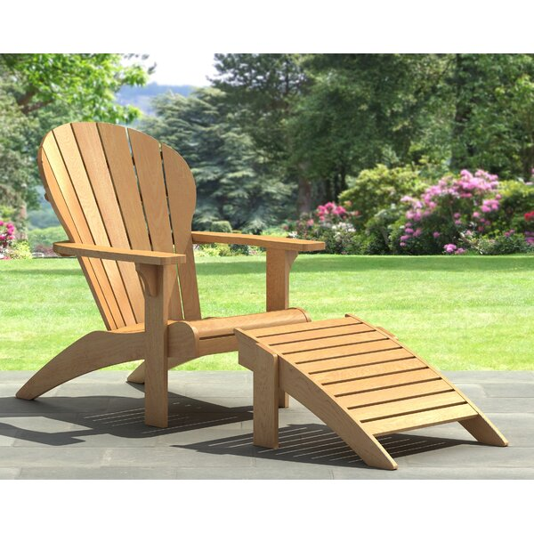 Irvine Solid Wood Adirondack Chair with Ottoman by Highland Dunes Highland Dunes