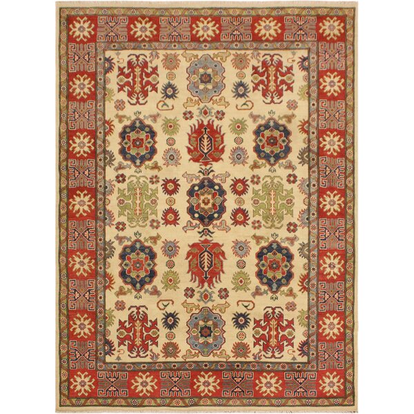 One-of-a-Kind Talia Kazak Hand-Knotted Wool Ivory/Red Area Rug by Astoria Grand