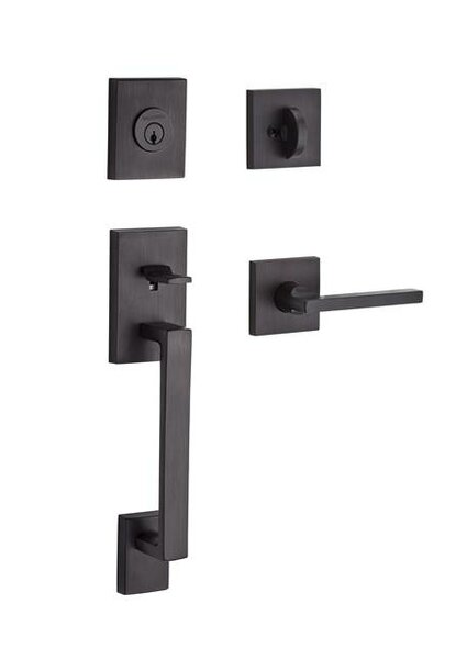 La Jolla Single Cylinder Handleset with Square Door Lever Contemporary Square Rose by Baldwin
