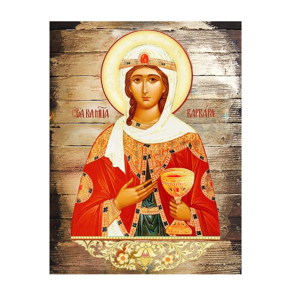 Inspirational Icon Saint Barbara Wooden Painting by G Debrekht
