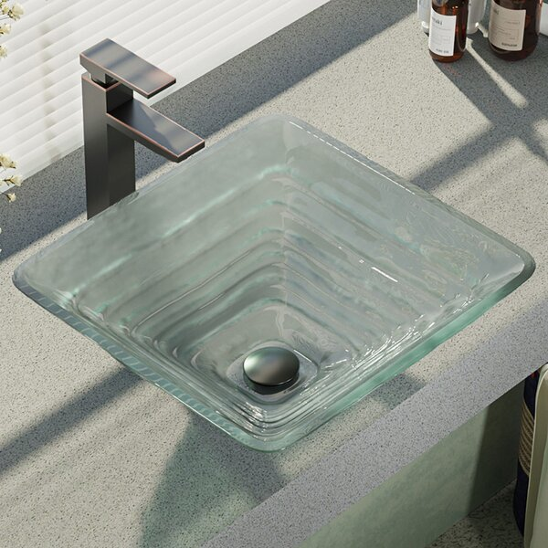 Textured Glass Square Vessel Bathroom Sink with Faucet