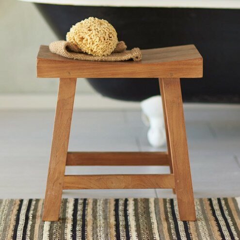 Reclaimed Teak Saddle Seat Stool by VivaTerra
