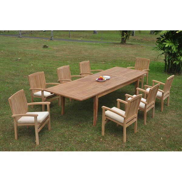 Richas 9 Piece Teak Dining Set by Rosecliff Heights