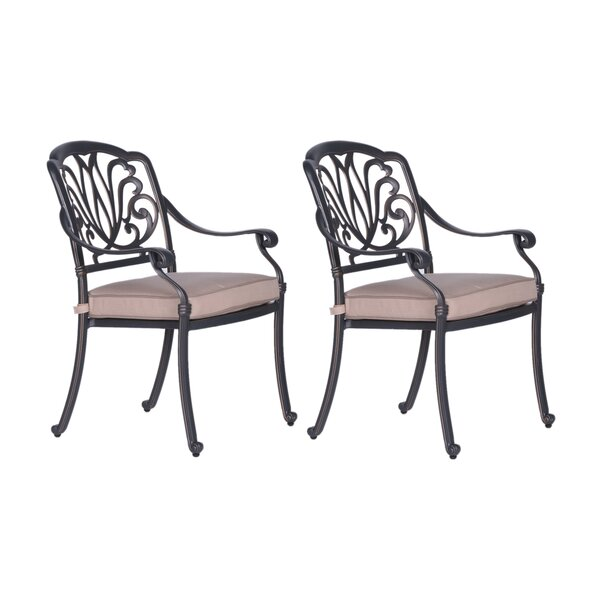 Beaufort Dining Arm Chair with Cushion (Set of 2) by World Menagerie