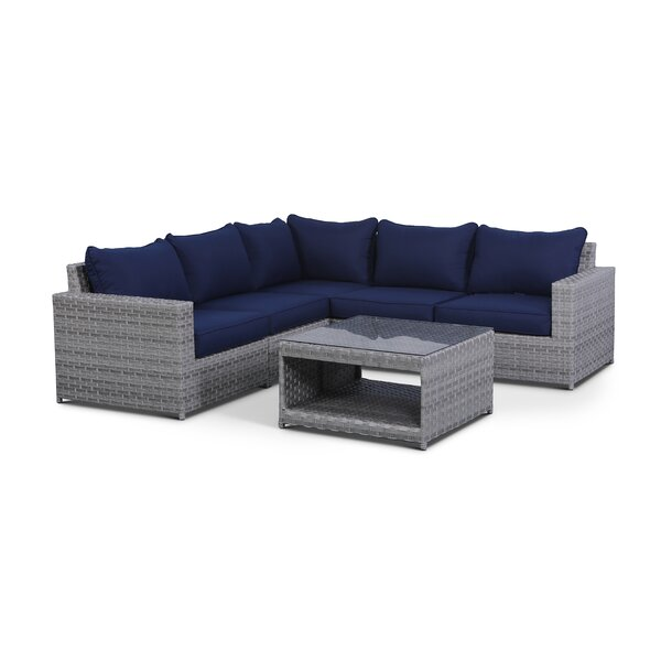 Jerimiah 6 Piece Sectional Seating Group with Cushions by Highland Dunes