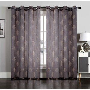 Nature/Floral Semi-Sheer Grommet Curtain Panels (Set of 2)