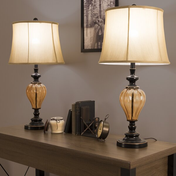 Amber Glass 29.5 Table Lamp (Set of 2) by Lavish Home