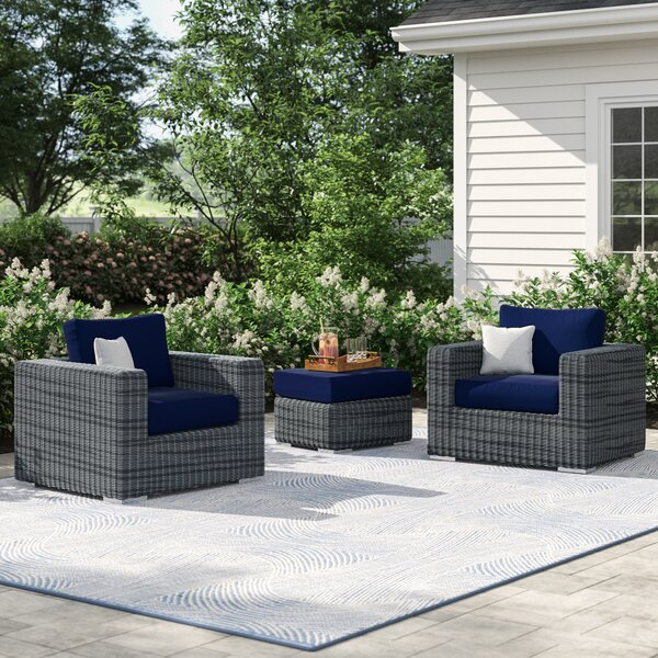 Keiran 3 Piece Sunbrella Conversation Set with Cushions by Brayden Studio