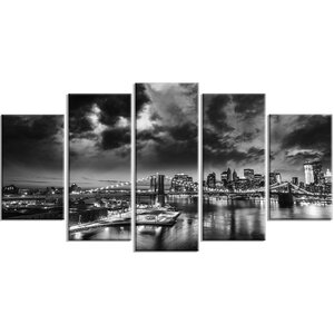 'Amazing Night in New York City' 5 Piece Photographic Print on Wrapped Canvas Set by Design Art