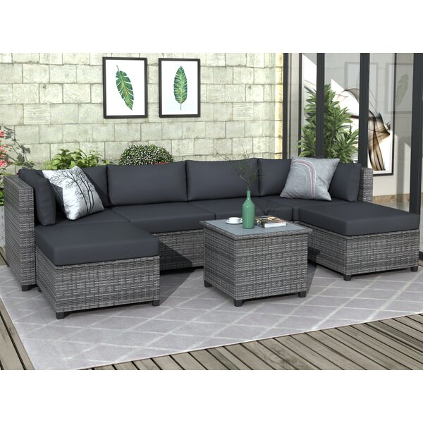 Saluda 7 Piece Rattan Sectional Seating Group with Cushions by Ebern Designs Ebern Designs