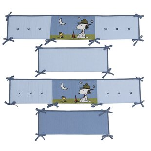 snoopys campout peanuts 4 piece crib bumper set
