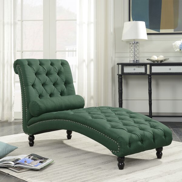 Filip Armless Chaise Lounge with Accent Nailheads by Charlton Home