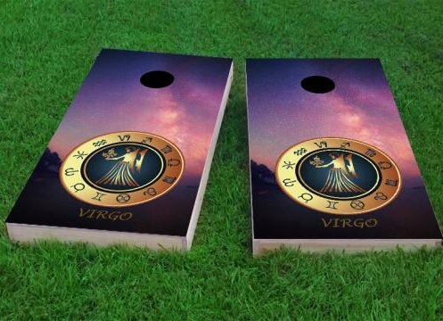 Zodiac Stars Virgo Themed Cornhole Game (Set of 2) by Custom Cornhole Boards