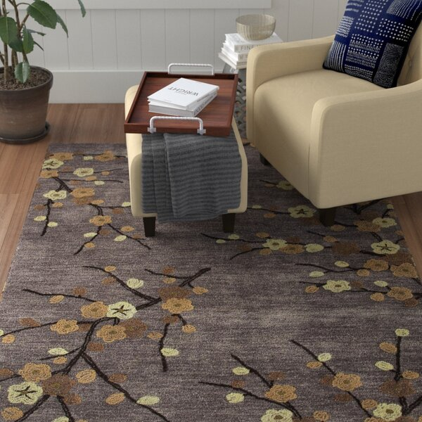 Anselmo Cherry Blossom Hand-Tufted Gray/Yellow Area Rug by Red Barrel Studio