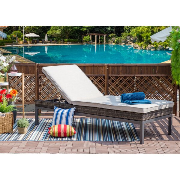 Hendon Patio Reclining Chaise Lounge with Cushion by Ivy Bronx