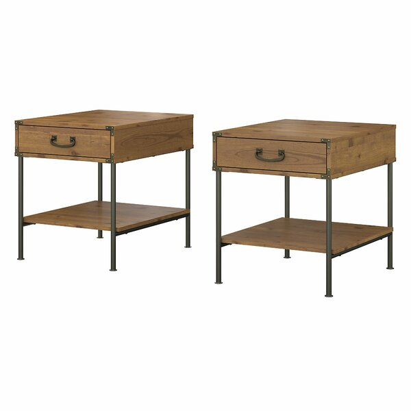 Ironworks End Table with Storage (Set of 2) by Kathy Ireland Home by Bush Furniture