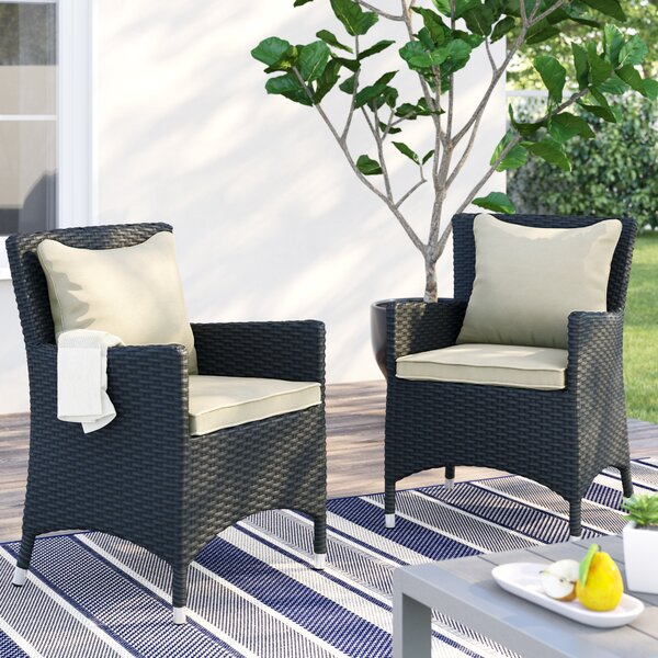 Tripp Patio Dining Chair with Cushion (Set of 2) by Brayden Studio
