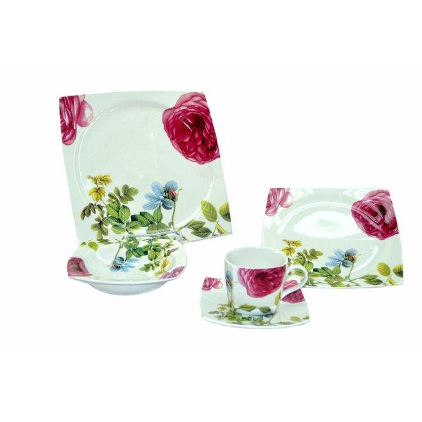Floral 20 Piece Dinnerware Set, Service for 4 by Three Star Im/Ex Inc.
