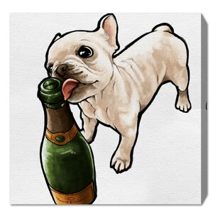 'Frenchie and Bubbly' Graphic Art Print on Wrapped Canvas by Latitude Run