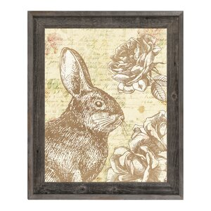 Shabby Bunny Brown Framed Graphic Art on Canvas by Click Wall Art