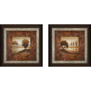 'Calming Landscape' 2 Piece Framed Acrylic Painting Print Set Under Glass by Andover Mills