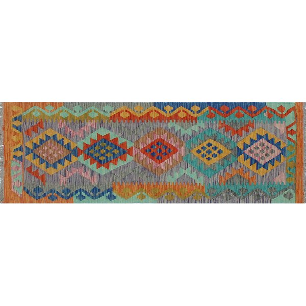Corda Hand-Knotted Wool Orange/Blue Area Rug by Bungalow Rose
