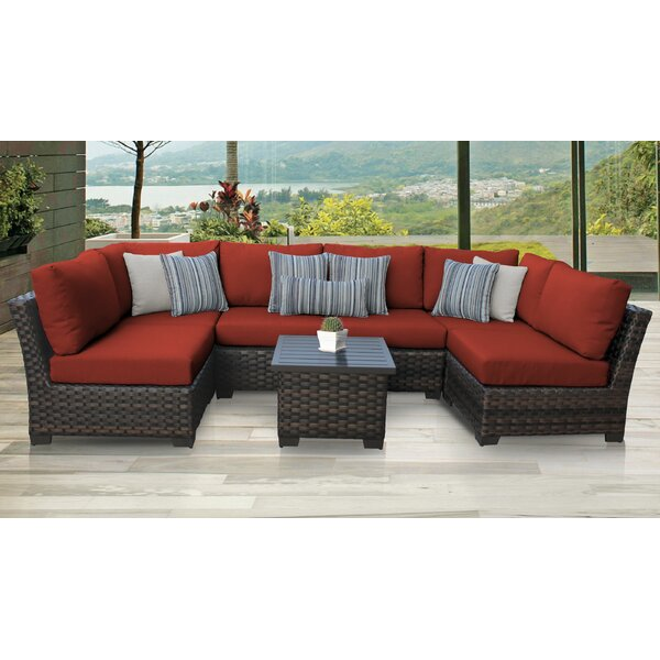 River Brook 7 Piece Rattan Sectional Seating Group with Cushions