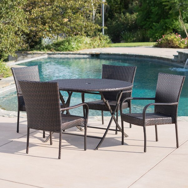 Hutzler Outdoor Wicker 5 Piece Dining Set by Latitude Run