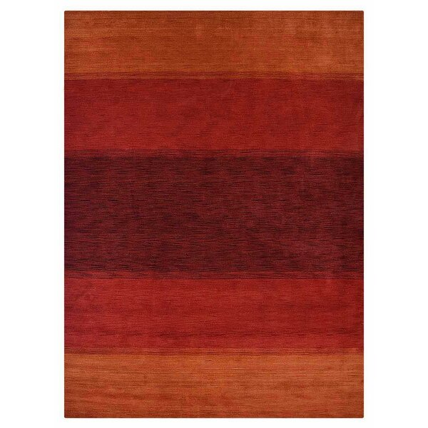 Housel Hand-Knotted Wool Orange/Red Area Rug by Ebern Designs