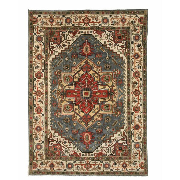 Montes Traditional Oriental Hand-Knotted Wool Blue Area Rug by Bloomsbury Market