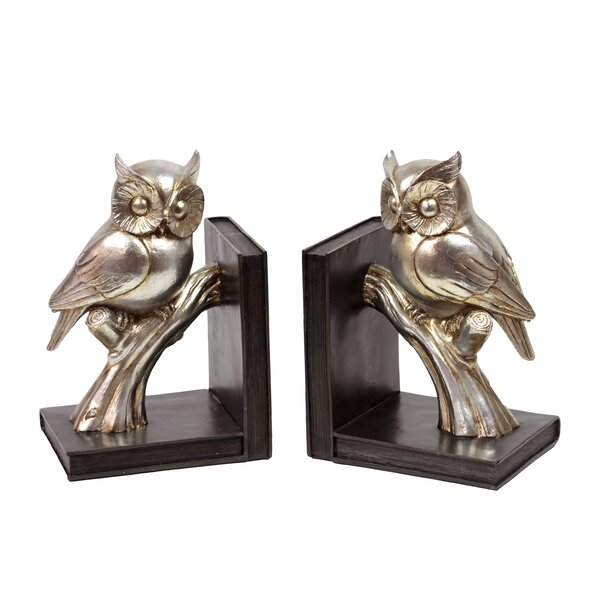 Resin Owl on a Branch Bookend (Set of 2) by Three Posts