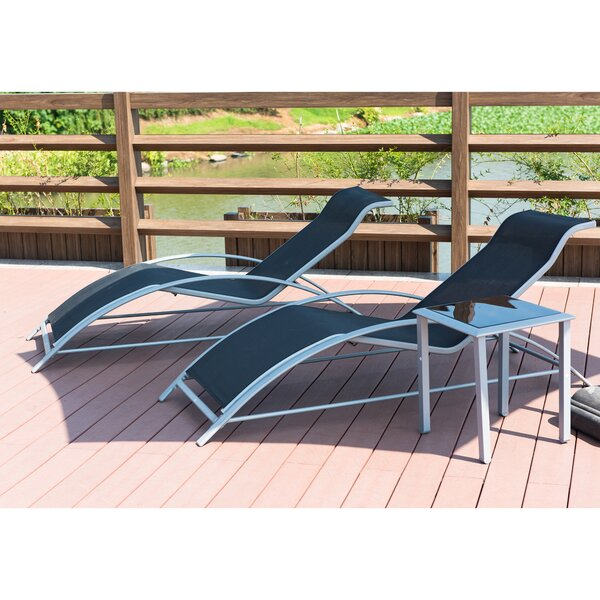 Breisacher Poolside PVC-coated Polyester Sun Lounger Set With Table By Orren Ellis