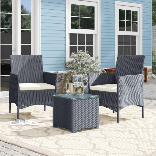 Brogdon 3 Piece Rattan Conversation Set with Cushions by Ebern Designs