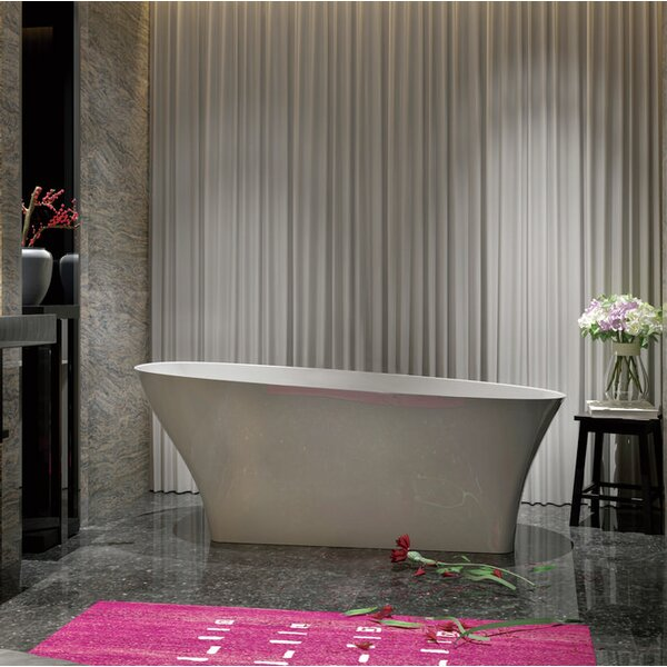 Solid Surface Resin 67 x 32 Freestanding Soaking Bathtub with Internal Drain by Streamline Bath