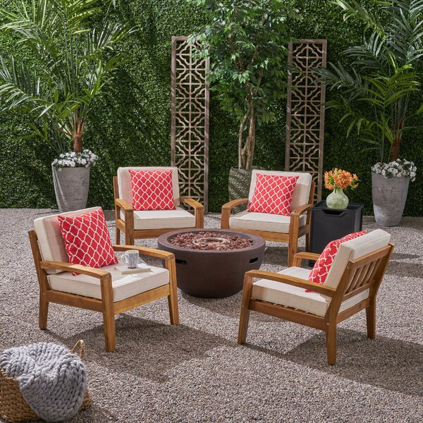 Lizzie Outdoor 4 Piece Club Chair Set with Bowl Fire Pit by Ivy Bronx